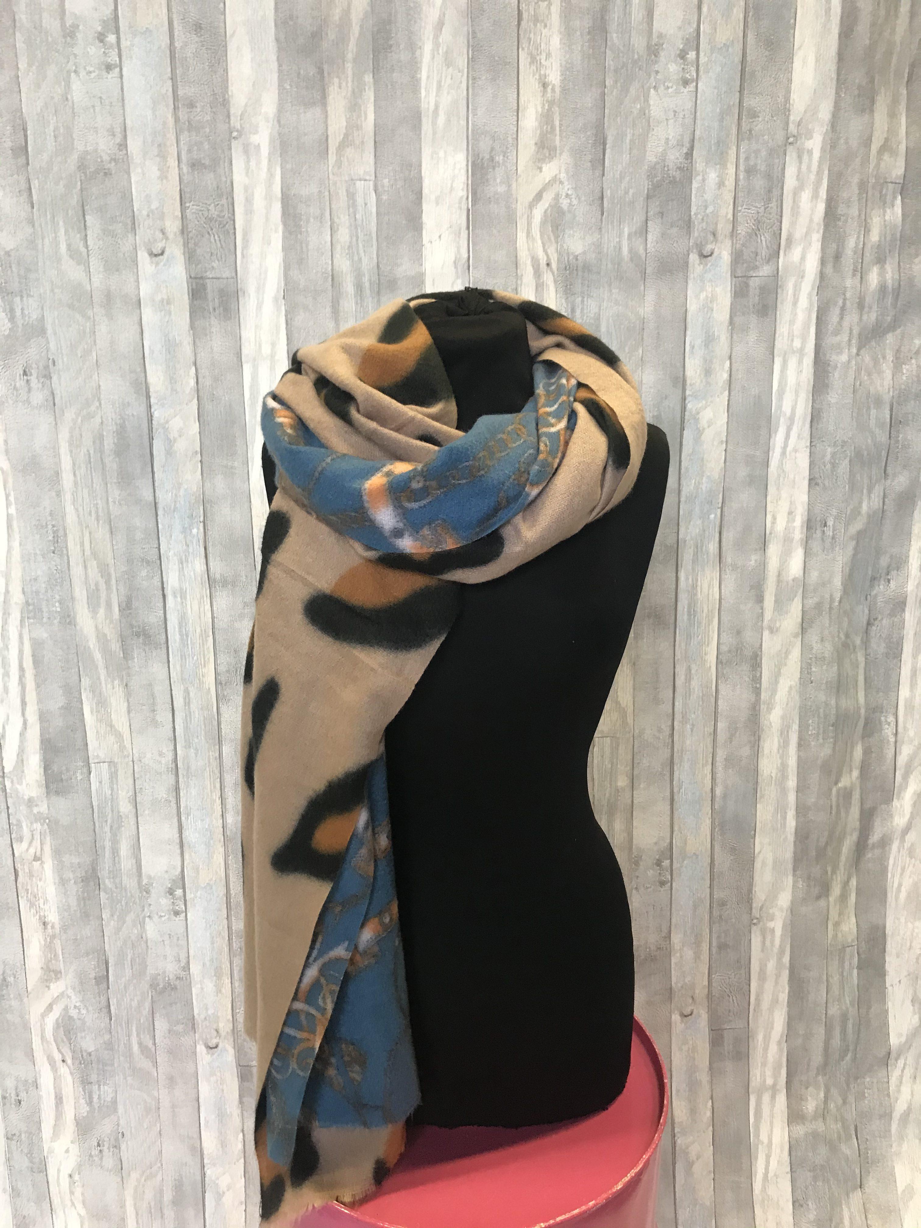 Sjaal beige Blauwe